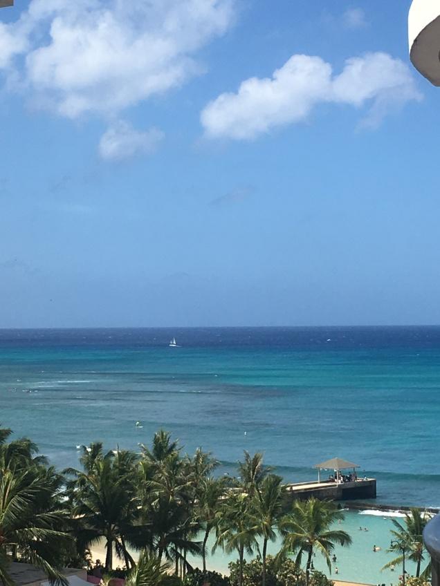 Our view of Waikiki Beach, Honolulu, Hawaii