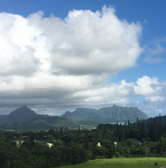 View from the OceanView Terrace at the Valley of the Temples Memorial Park, Kaneohe, Hawaii. Oct 2016. It's a beautiful world.
